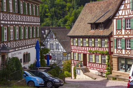 SCHILTACH, GERMANY - JULY 24 2017 The historic market square with the town hall and old half-timbered houses in Schiltach, Black Forest, Baden-Wurttemberg, Germany, Europe Editorial
