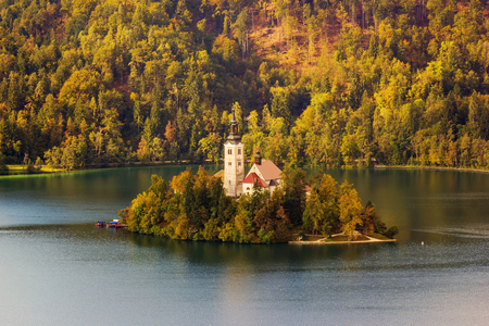 Catholic church on an island in the middle of the Bled lake in Slovenia