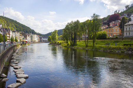 The city of Altena and the river Lenne in North Rhine-Westphalia, Germany