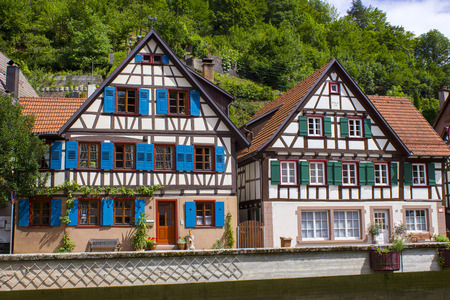 Half-timbered houses in the historical Spitalstrasse in Schiltach. Black Forest, Baden-Wurttemberg, Germany, Europe