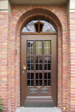 Old wooden house door in German small town, Geldern, North-Rhine Westphalia