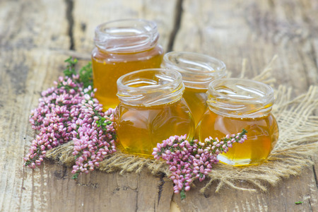 herbal honey with heather flowers