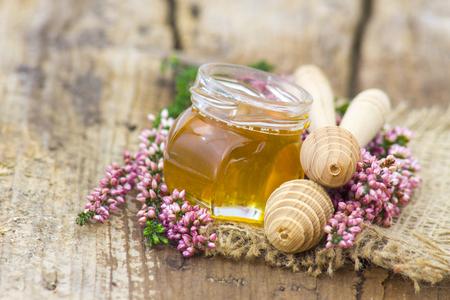 herbal honey with heather flowers