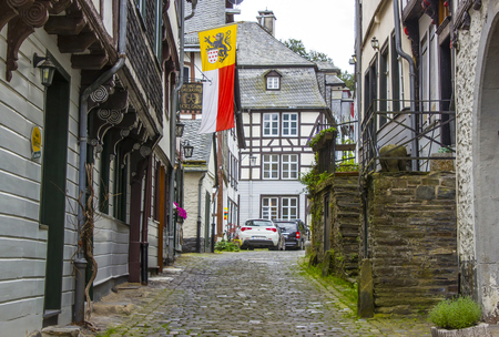 MONSCHAU, GERMANY - JULY 30, 2016: small town Monschau. The historic town center has many half-timbered houses and narrow streets remained nearly unchanged for 300 years Editorial