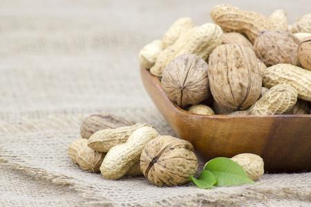 walnuts and peanuts in a bowl