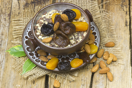 muesli with almonds and dried fruits Stock Photo