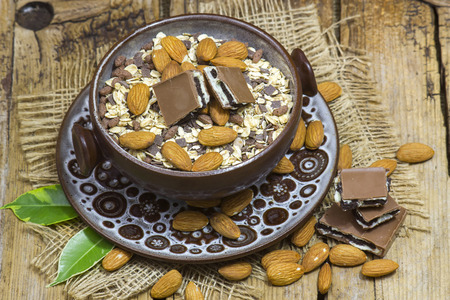 muesli with chocolate and almonds