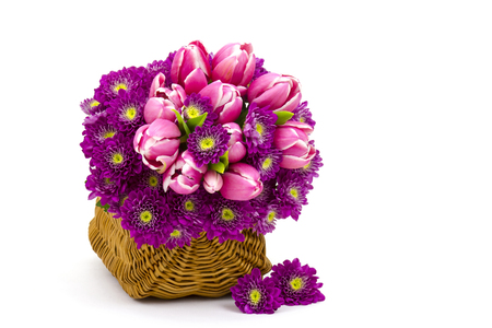 Bouquet made of tulips and chrysanthemum flowers on white background Stock Photo