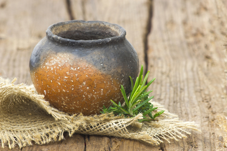 Clay pot, old ceramic vase and herbs 免版税图像