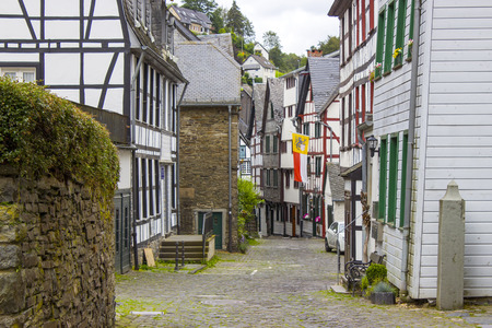 MONSCHAU, GERMANY - small town Monschau in the Eifel region. The historic town center has many half-timbered houses and narrow streets remained nearly unchanged for 300 years