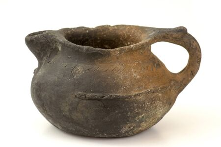 old clay pot on white background