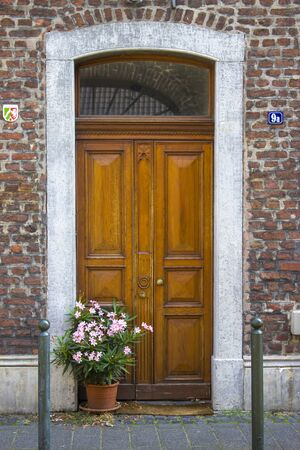 Old wooden house door in German small town, Wachtendonk, North-Rhine Westphalia