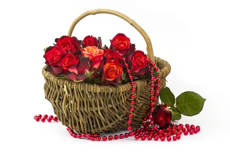 red roses in a basket on white background