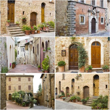 collage with pictures with typical tuscan streets, Tuscany, Italy