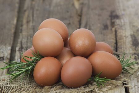 eggs on old wooden background