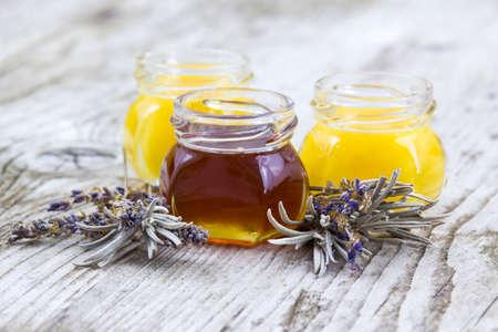 herbal honey with lavender flowers