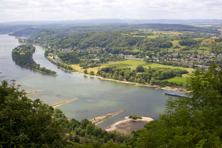 view to river Rhine from the famous mountain Drachenfels in Koenigswinter, Germany