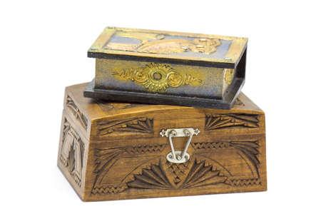 wooden jewelery boxes on white backgrund 版權商用圖片