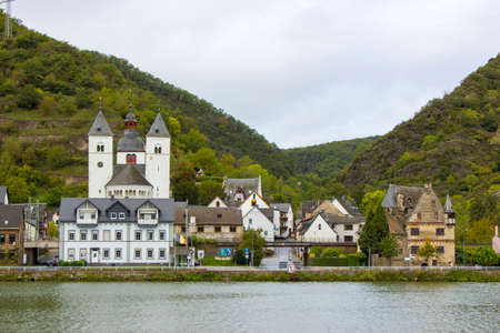 View of Treis-Karden town with the Moselle river in Rhineland-Palatinate, Germany