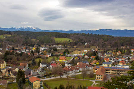 town of Pitten - view from the fortifications of the mountain church, Lower Austria