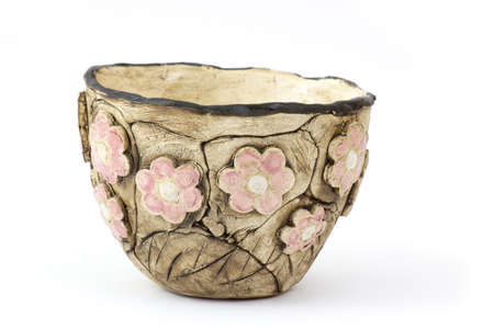 clay pot on white background - handmade pottery