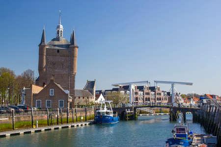 ZIERIKZEE, ZEELAND, NETHERLANDS - April 11 2015: Double drawbridge in Netherlands Zierikzee. Entrance to the historic port town Editorial