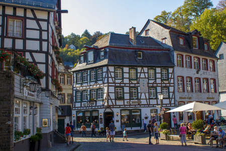 MONSCHAU, GERMANY - SEPTEMBER 22, 2020: small town Monschau with unidentified people. The historic town center has many half-timbered houses and narrow streets remained nearly unchanged for 300 years Editorial