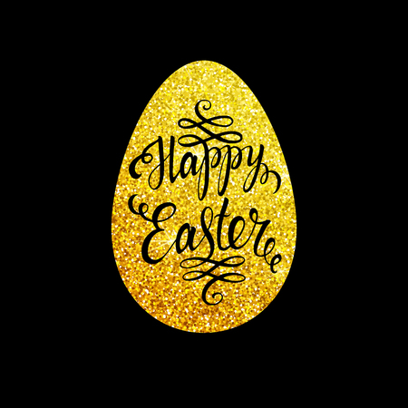 gold egg: Easter lettering in gold egg on black background. Easter card. Happy easter text. Easter sunday. Gold easter egg. Easter holiday for invitation and card.