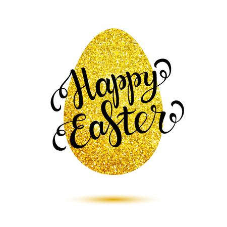gold egg: Easter lettering on gold egg. Happy Easter card. Illustration