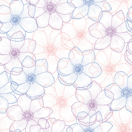 pantone: Floral seamless pattern flower anemone in color pantone 2016, anemone background, flower seamless pattern for greeting card, holiday, wedding, birthday, textile, wallpaper, wrapping, flower Illustration