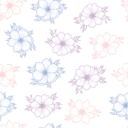 anemone: Floral seamless pattern of flower anemone in colors of 2016, Flower seamless pattern for card, mothers day, wedding, birthday, textile, web, wallpaper, wrapping, flower