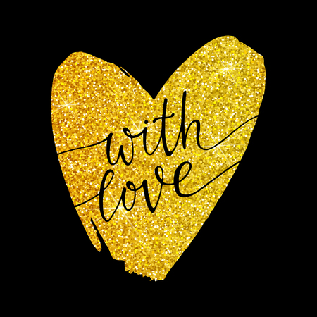 glitter heart: With love - lettering on a gold glitter heart on a black background. Valentines day card. Hand drawn illustration. Design banner, poster, printing, mailing, postcard, wedding.