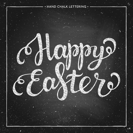 caligraphic: Happy Easter - hand drawn chalk lettering on chalkboard Illustration