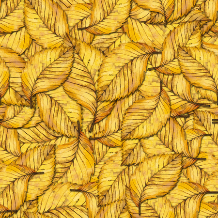 elm: Seamless pattern with autumn yellow leaves of elm. Hand painted watercolor illustration. Design for fabric, textile, wrapping paper, card, invitation, wallpaper, web design.