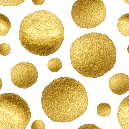 gold circle: Seamless pattern gold circle on a white background. Pattern gold polka dot. Gold glitter circle pattern. Design for fabric, textile, wrapping paper, card, invitation, wallpaper, web design, wedding
