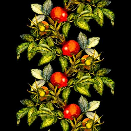 Rosa mosqueta frontera patrón transparente sobre fondo negro, dibujado a mano ilustración acuarela, diseño de la tela, textil, papel de regalo, tarjeta, invitación, papel pintado, diseño de páginas web.
