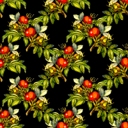 Rosehip seamless pattern on black background, hand drawn watercolor illustration, design for fabric, textile, wrapping paper, card, invitation, wallpaper, web design.