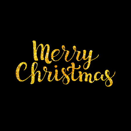 luster: Merry Christmas. Gold glitter on a black background. Hand drawn lettering. Vector illustration. Design by flyer, banner, poster, printing, mailing