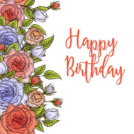 orange rose: Flower greeting card. Floral vertical frame, bouquet of lilac and orange rose, floral design for wedding, greeting card, invitation, mothers day, birthday, holiday, summer design Illustration