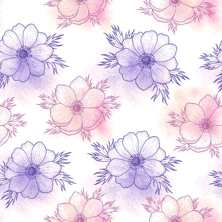 pink vintage: Floral seamless pattern of watercolor flower anemone in pantone Rose quartz and Serenity, flower seamless pattern for card, holiday, wedding, birthday, textile, wallpaper, wrapping Vector flower