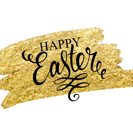 greating card: Easter lettering on gold texture. Easter greating card. Vector illustration.