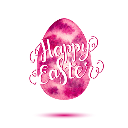 Happy Easter lettering on pink watercolor egg, Happy Easter letter for greeting card, poster, banner, printing, mailing, flyer, web, vector illustration