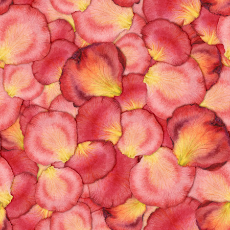 realism: Watercolor seamless pattern of pink rose petals, hand painted watercolor illustration, design for fabric, textile, wrapping paper, card, invitation, wallpaper, web design.