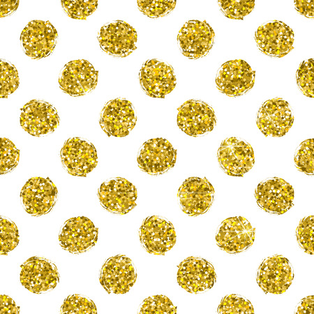 gold circle: Seamless pattern gold circle on white background, pattern of gold polka dot, vector design for textile, wrapping, card, invitation, wallpaper, web, wedding, party, birthday Illustration