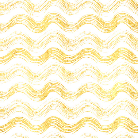 yule tide: Seamless pattern of gold wave, seamless background gold glitter wavy stripes, hand painted vector for textile, wallpaper, web design, wrapping, fabric, paper, wedding design