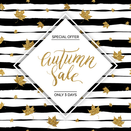 autumnal: Autumn sale vector text on gold autumn leaves seamless pattern on striped background, special offer autumn sale, golden shiny autumnal text for card, poster, banner, print Illustration
