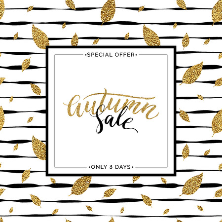 autumnal: Autumn sale text vector on seamless striped background with gold glitter leaves, special offer autumn sale, golden shiny autumnal text for card, poster, banner, print,