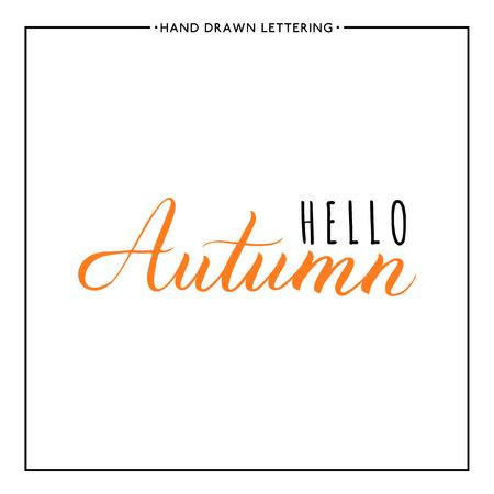 autumnal: Hello autumn text, hand painted vector, autumnal lettering for card, poster, banner, print, handwritten quotes
