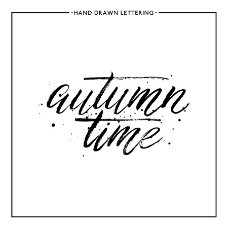 autumnal: Autumn time lettering vector - hand painted grunge text with black splashes, autumnal brush calligraphy for card, poster, print, flyer, banner