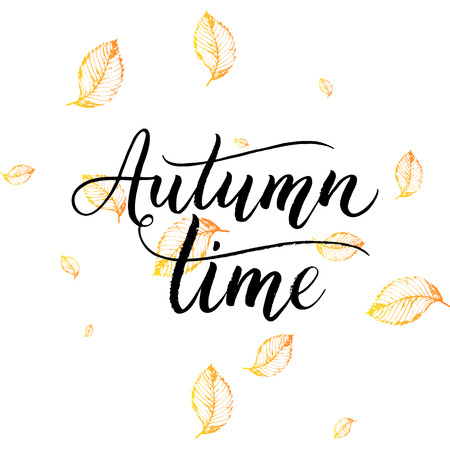autumnal: Autumn time text - hand painted lettering with orange leaves, autumnal brush calligraphy on background of yellow leaf, vector for card, poster, print, flyer, banner Illustration